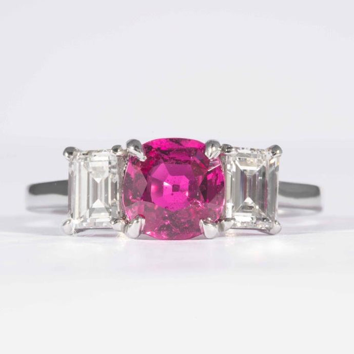 1.24 Carat Cushion Cut No Heat Burma Ruby & Diamond Ring (GIA Certified Platinum) - JEWELRY Boston