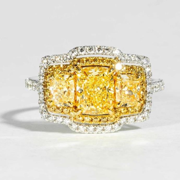 1.24ct Radiant Cut Canary Diamond Ring - JEWELRY Boston
