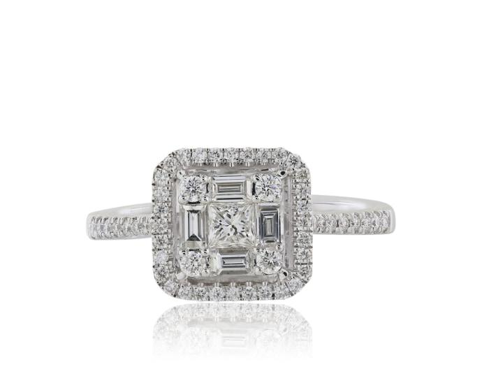 1.25 Carat Diamond Cluster Engagement Ring - Jewelry Boston