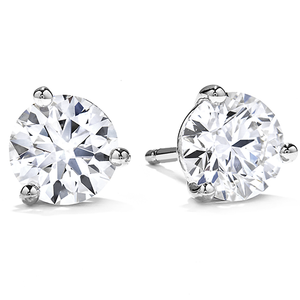 1.25ctw Round Brilliant Cut Diamond Stud Earrings (White Gold) - JEWELRY Boston