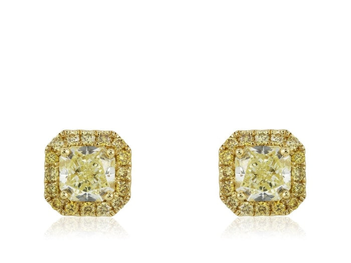 1.26 Carat Cushion Cut Canary Diamond Earrings Fy / Si1 (18K Yellow Gold) - Jewelry Boston
