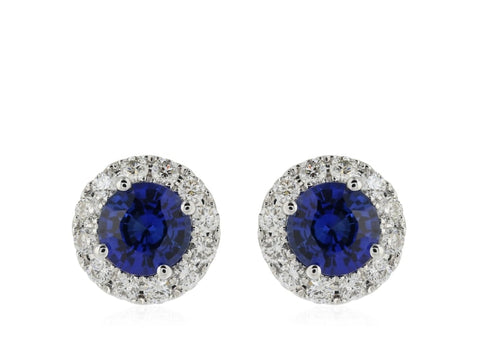1.27 Carat Sapphire & Diamond Earrings (18K White Gold) - Jewelry Boston