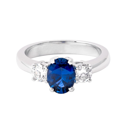 1.27ct Oval Shape Blue Sapphire & Diamond 3-Stone Ring - JEWELRY Boston
