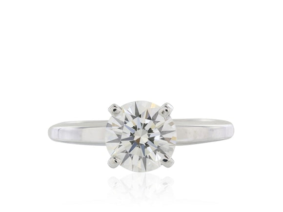 1.30 Carat Round Brilliant Cut Diamond Engagement Ring (Platinum) - Jewelry Boston