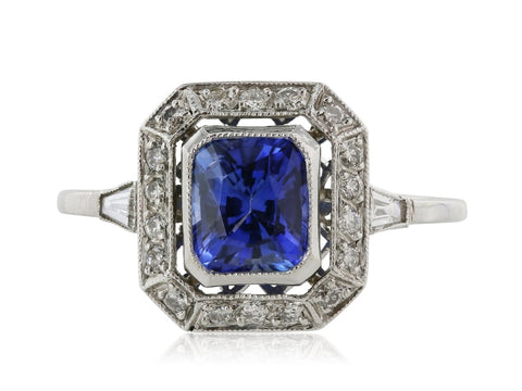 1.30ct Antique Inspired Sapphire & Diamond Ring - ENGAGEMENT Boston