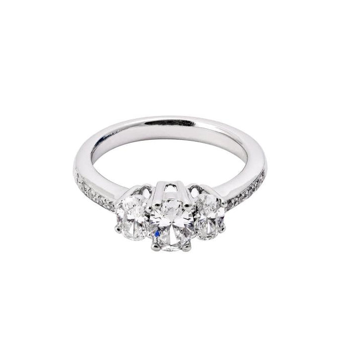 14KWG 3Stone Oval Diamond Ring =1.30CTW - JEWELRY Boston