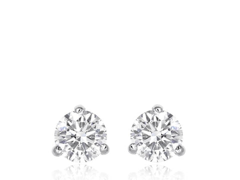 1.31 Carat Round Brilliant Cut Diamond Stud Earrings (14K White Gold) - Jewelry Boston