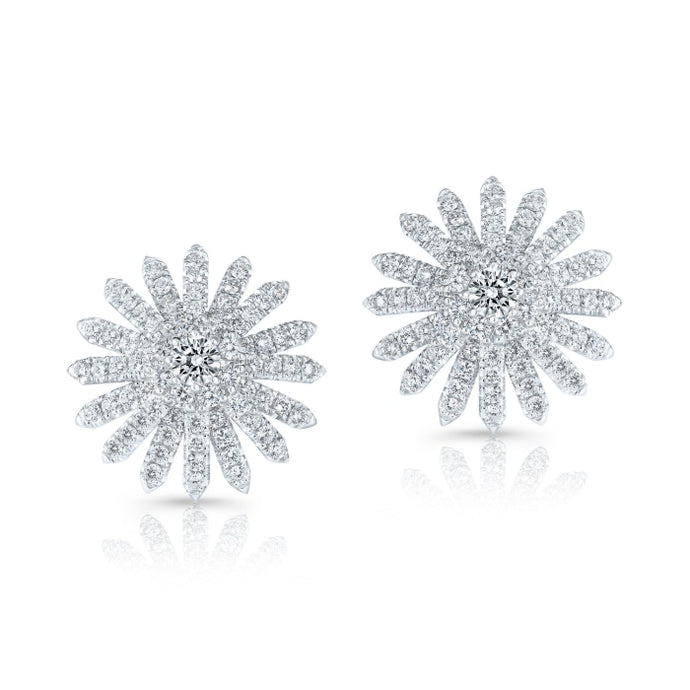 1.33ctw Round Diamond Burst Style Earrings (White Gold) - Jewelry Designers Boston