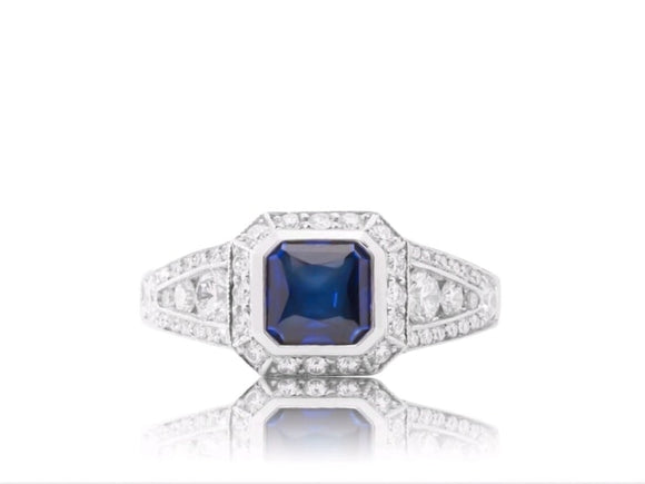 1.34 Carat Asscher Cut Sapphire Ring W/ Diamonds (Platinum) - Jewelry Boston