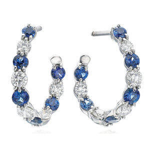 1.34Ctw Gumuchian Sapphire & Diamond White Gold Hoops - Jewelry Boston