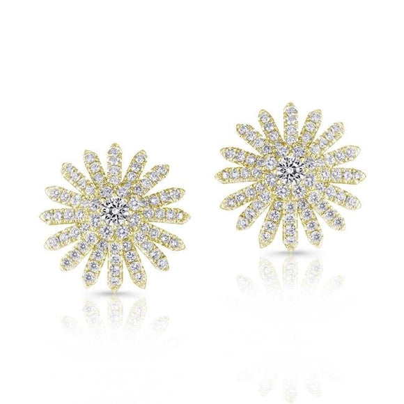 1.35 Carat Spray Motif Diamond Earrings (18K Yellow Gold) - Jewelry Boston