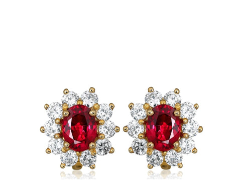 1.35ct Tiffany & Co. Ruby & Diamond Cluster Earrings (Two Tone) - Jewelry Designers Boston