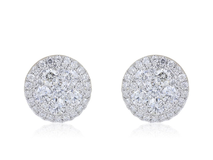 1.35ctw Diamond Pave Cluster Earrings (White Gold) - JEWELRY Boston
