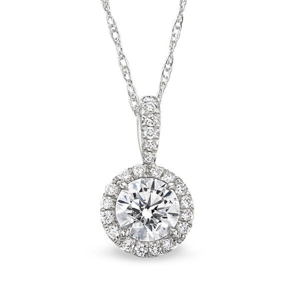 1.36CTW Round Diamond Halo Pendant - Boston