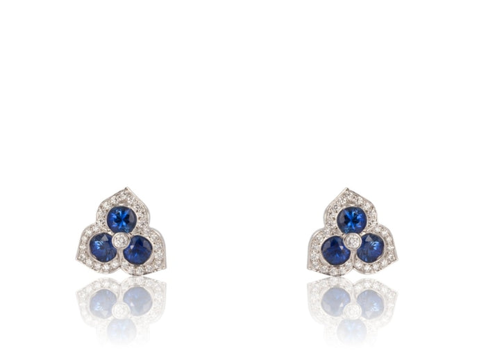 1.36ctw Gumuchian Sapphire & Diamond Earrings (Platinum) - Jewelry Designers Boston