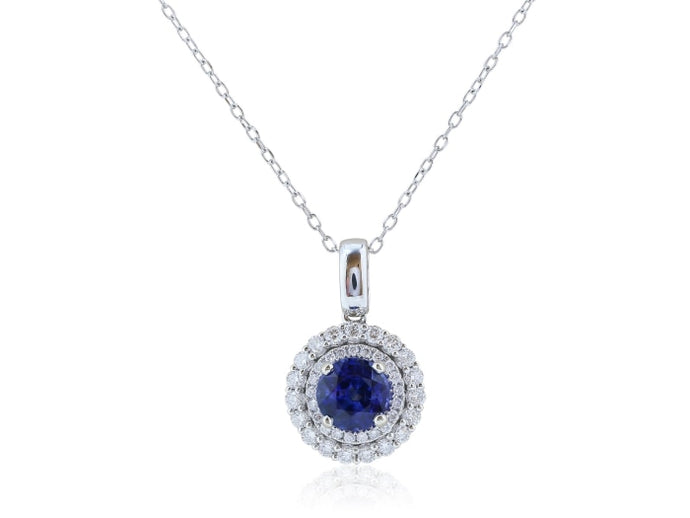 1.37ct Ceylon Sapphire & Diamond Pendant - JEWELRY Boston