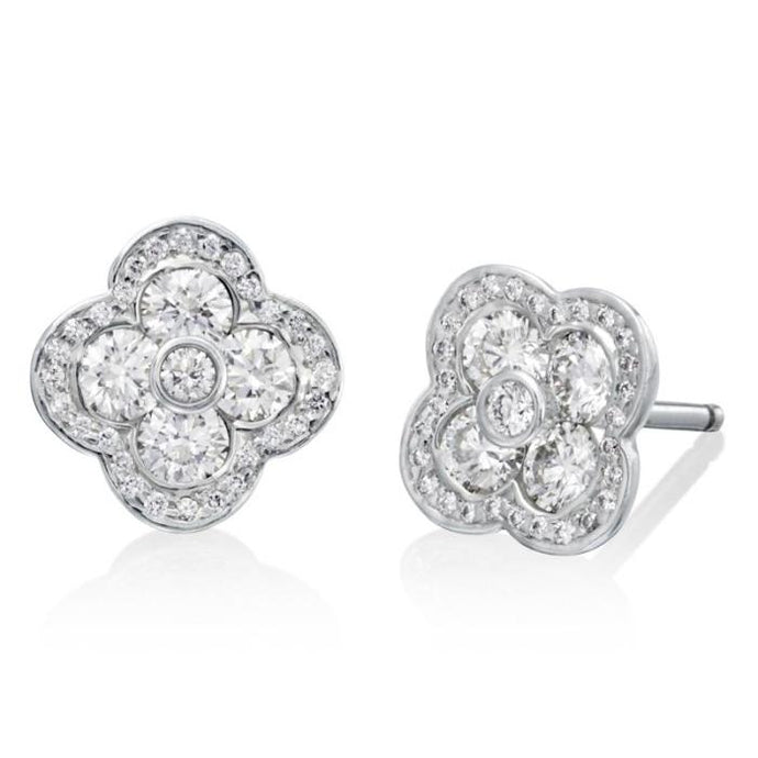 1.40ctw Gumuchian Fleur Stud Earrings w/ Diamonds (Platinum) - Jewelry Designers Boston