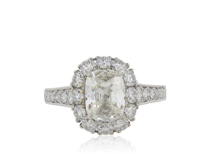 1.40ct Cushion Cut Halo Style Diamond Ring (White Gold) - ENGAGEMENT Boston