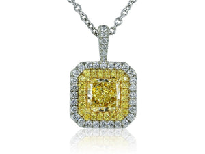 1.41ct Radiant Cut Canary Diamond Pendant (GIA Certified Two Tone) - Jewelry Designers Boston