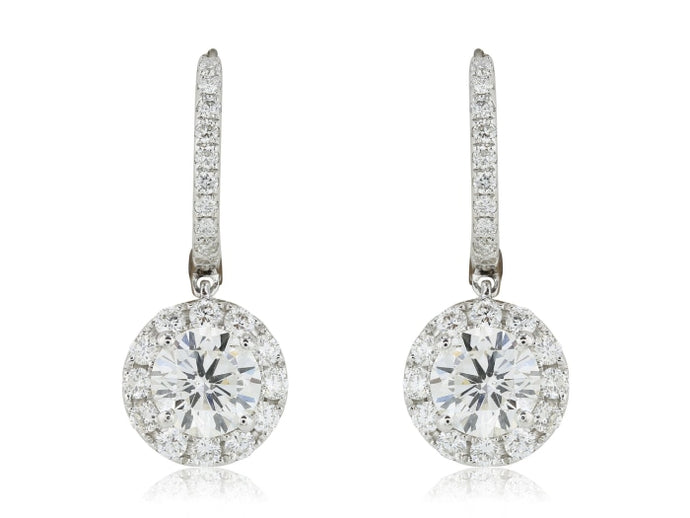 1.41ct Round Brilliant Diamond Drop Earrings (White Gold) - JEWELRY Boston
