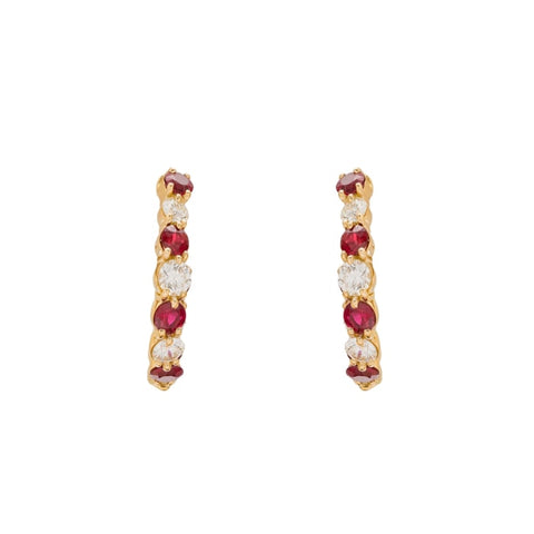 1.41Ctw Gumuchian Ruby & Diamond Yellow Gold Hoops - Jewelry Boston