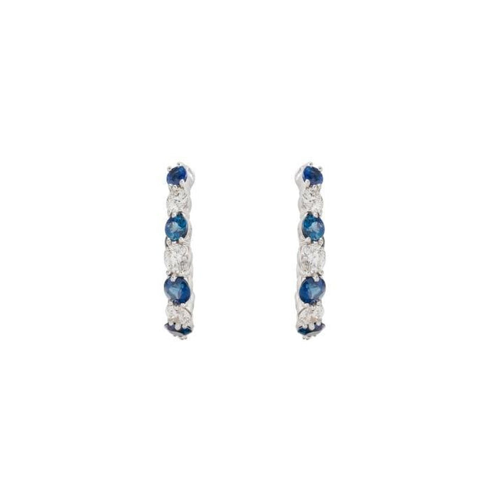 1.42 Carat H-I/SI2 Gumuchian Sapphire & Diamond Hoops (White Gold) - Jewelry Designers Boston