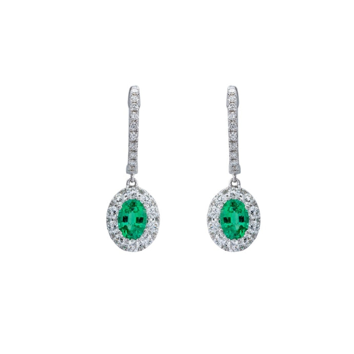 1.43 CTW Emerald & Diamond Drop Earrings (White Gold) - JEWELRY Boston