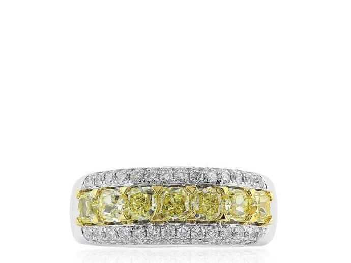 1.44ct Radiant Cut Canary & Colorless Diamond Ring (Two Tone) - JEWELRY Boston