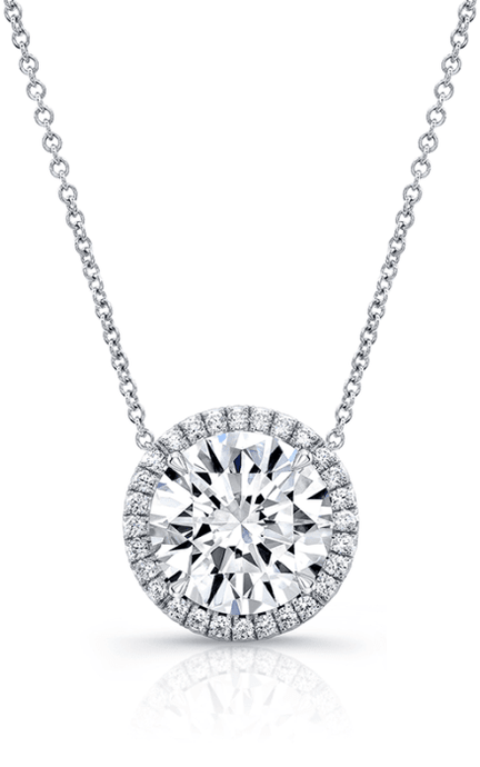 1.50CTW Round Diamond Halo Pendant - Boston