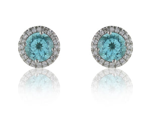 1.50 Carat Paraiba Tourmaline & Diamond Cluster Earrings - Jewelry Boston