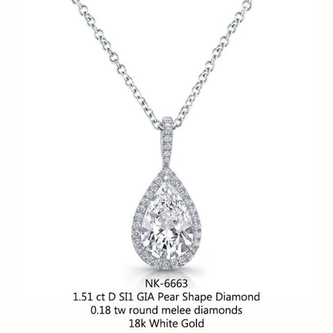 1.51 Carat Diamond Pendant Necklace (18K White Gold) - Jewelry Boston