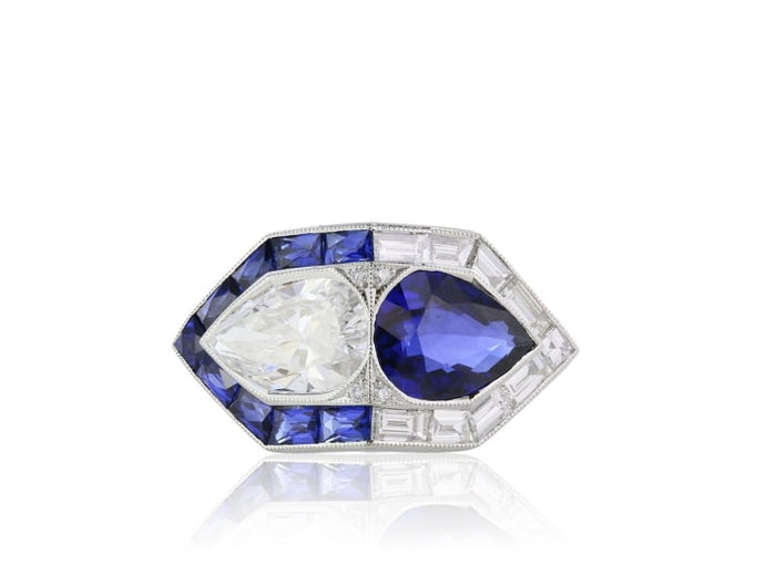 1.54 Carat Art Deco Blue Sapphire Ring (Platinum) - Jewelry Boston