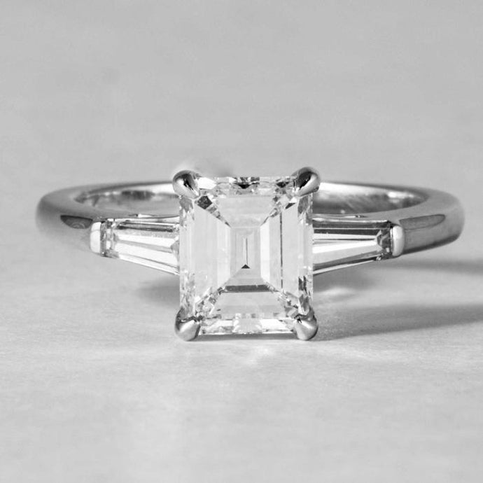 Emerald Cut Diamond and Baguette Ring - Boston