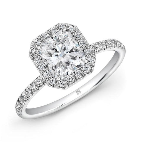 1.55ct Radiant Cut Diamond Engagement Ring (18k White Gold) - ENGAGEMENT Boston