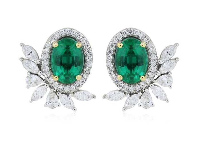 1.56ct Emerald Diamond Earrings - Boston