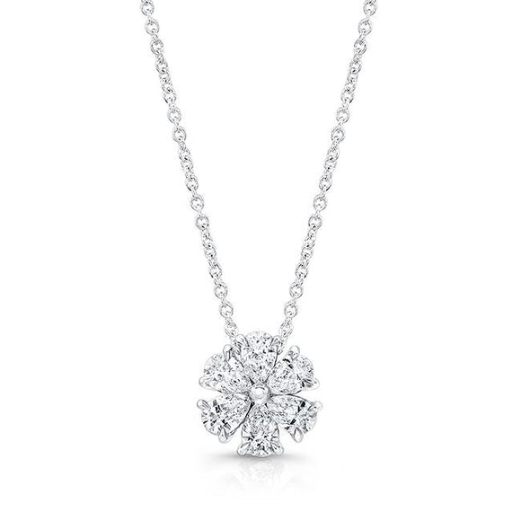 1.56 Carat Flower Motif Diamond Necklace (18K White Gold) - Jewelry Boston