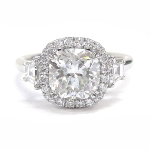 1.57 Carat Cushioncut W/ Halo Diamond Engagement Ring (Platinum) - Jewelry Boston