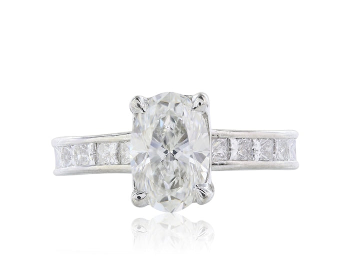 1.61ctw Oval Diamond Engagement Ring (GIA Certified Platinum) - ENGAGEMENT Boston