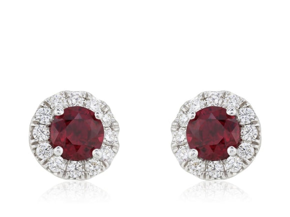 1.63 Carat Ruby And Diamond Earrings (18K White Gold) - Jewelry Boston