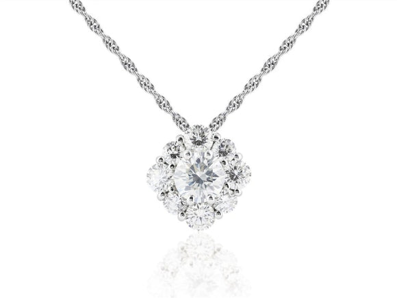 1.64 Carat Diamond Cluster Pendant Necklace (Platinum) - Jewelry Boston