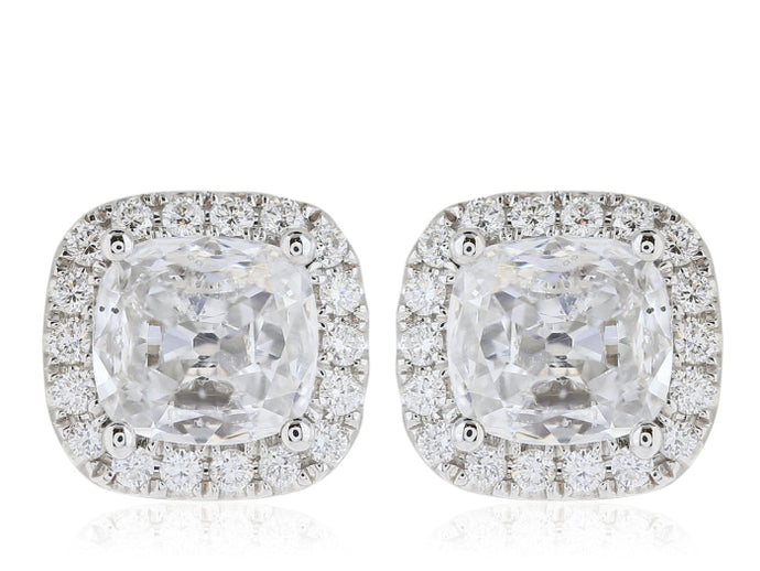 1.64ct Cushion Cut Diamond Stud Halo Earrings (Platinum G-H/SI1) - JEWELRY Boston