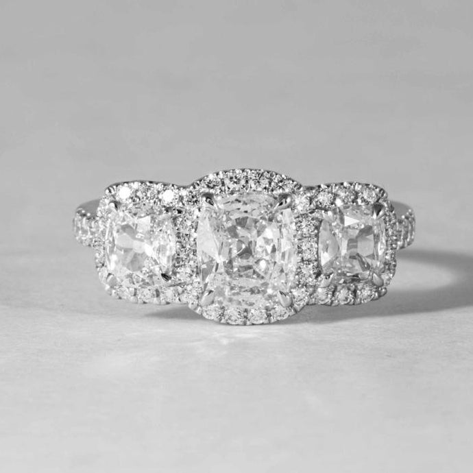 1.66 Carat Cushion Cut Three Stone Diamond Ring - Boston