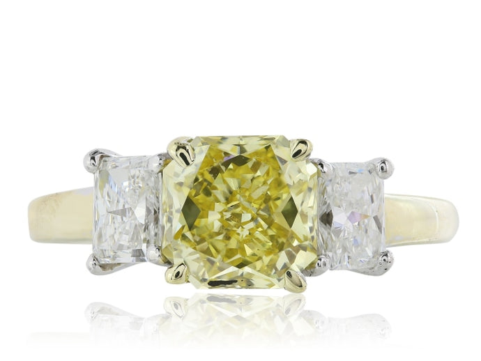 1.66ctw Fancy Yellow Diamond Ring (Two Tone) - ENGAGEMENT Boston