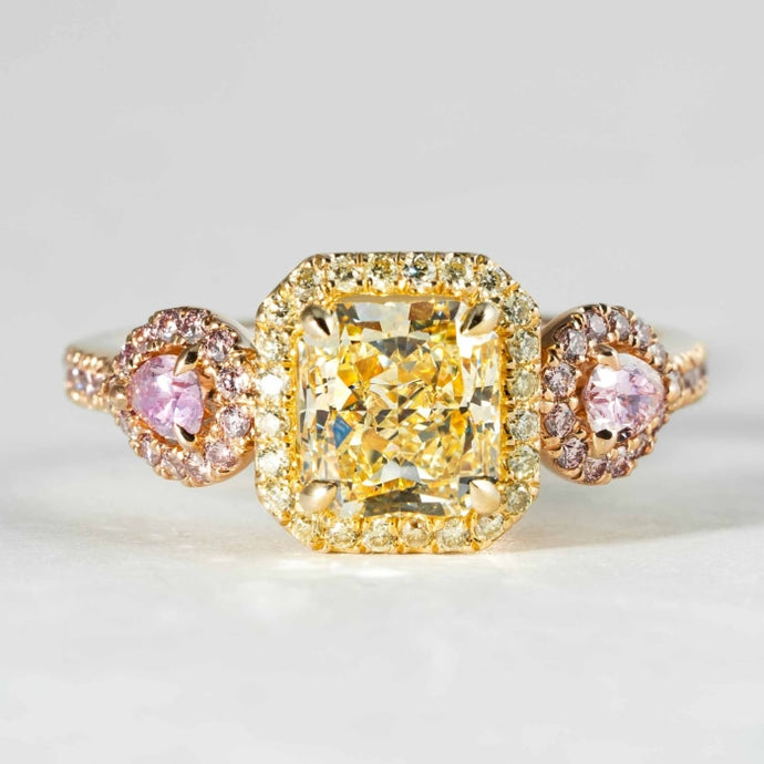 1.67 carat Fancy Yellow Canary Radiant Cut & Pink Diamond 3-Stone Ring (GIA Certified Two-Tone) - ENGAGEMENT Boston