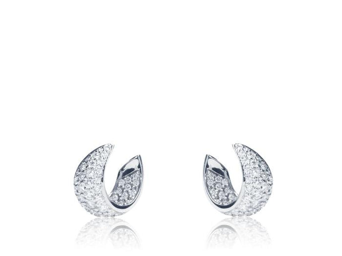 1.67Ctw Gumuchian Small Platinum Diamond Hoops - Jewelry Boston