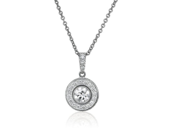1.67 Carat Round Brilliant Cut Diamond Pendant Necklace (Platinum) - Jewelry Boston