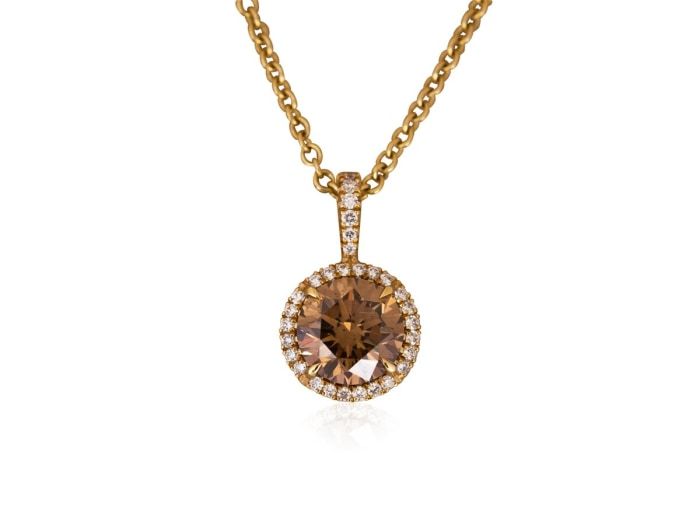 1.70 Carat Round Cut Diamond Pendant Necklace (18K Yellow Gold) - Jewelry Boston