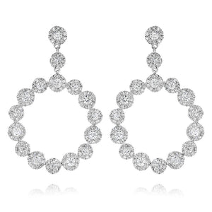 1.70ctw Pave Diamond Circle Drop Earrings (White Gold) - JEWELRY Boston