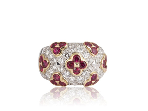 1.72 Carat Ruby & Diamond Ring (18k Two Tone) - JEWELRY Boston
