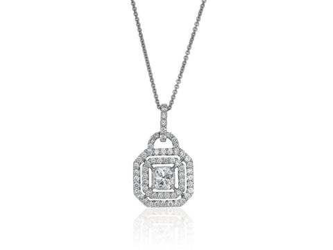 1.73 Carat Open Work Diamond Pendant Necklace (18K White Gold) - Jewelry Boston